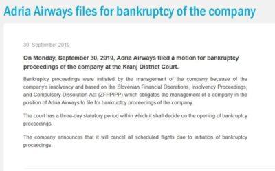 captura ecran site Adria Airways